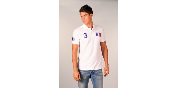 Pánské bílé polo tričko s francouzskou vlajkou TH