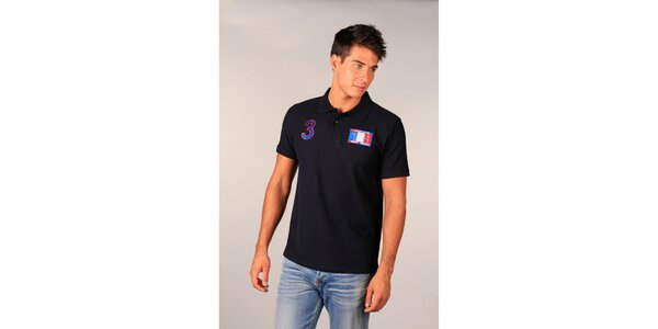 Pánské modré polo tričko s francouzskou vlajkou TH