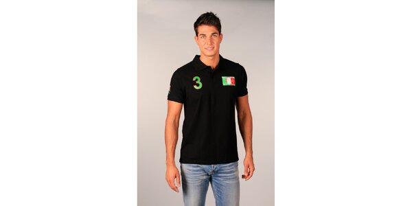 Pánské černé polo tričko s trojkou TH