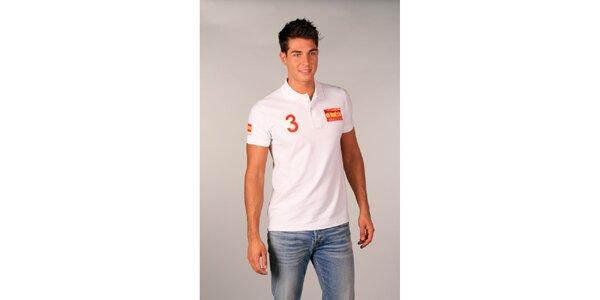 Pánské bílé polo tričko s trojkou TH