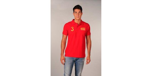 Pánské červené polo tričko s trojkou TH