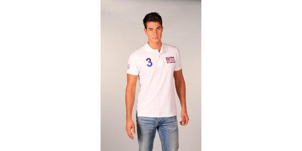 Pánské bílé polo tričko s americkou vlajkou TH