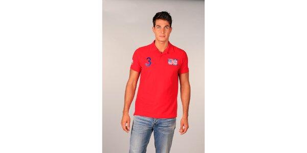 Pánské červené polo tričko s americkou vlajkou TH