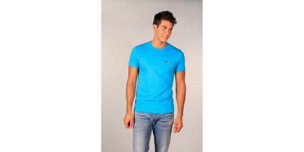 Pánské tyrkysové tričko s krátkými rukávy TH