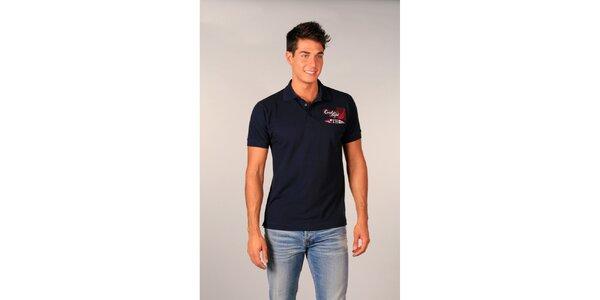 Pánské tmavě modré polo tričko s nápisy TH