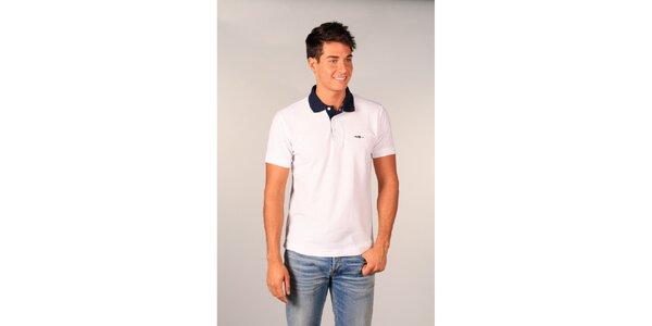 Pánské bílé polo tričko TH s tmavě modrým límečkem