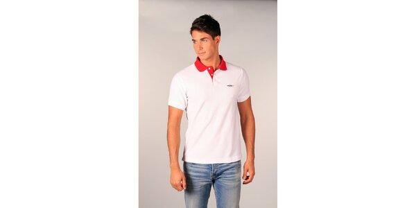 Pánské bílé polo tričko TH s červeným límečkem