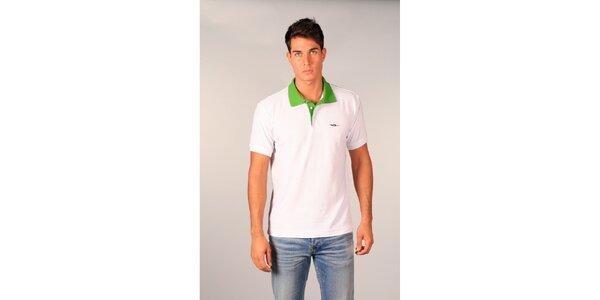 Pánské bílé polo tričko TH se zeleným modrým límečkem