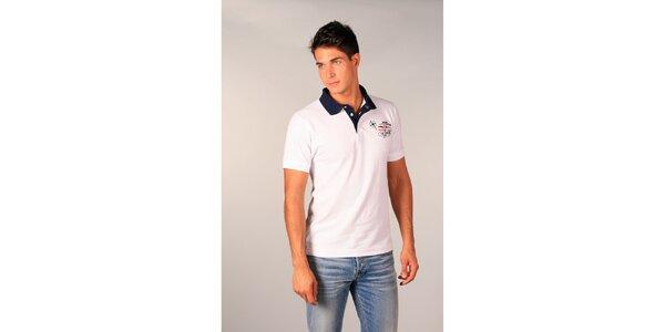 Pánské bílé polo tričko s modrým límečkem TH