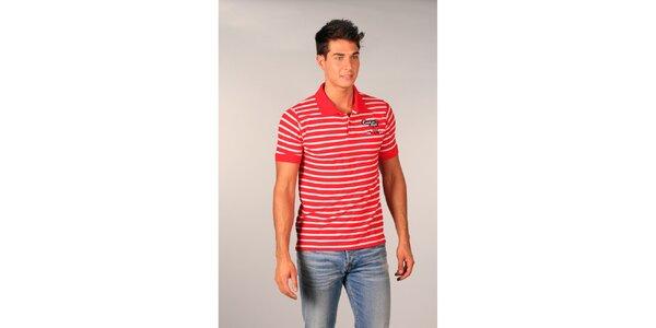 Pánské červené pruhované polo tričko TH