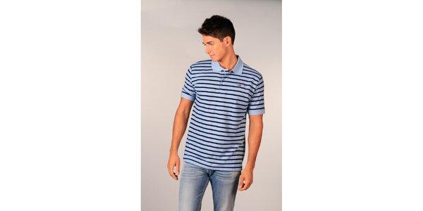 Pánské světle modré pruhované polo tričko značky TH