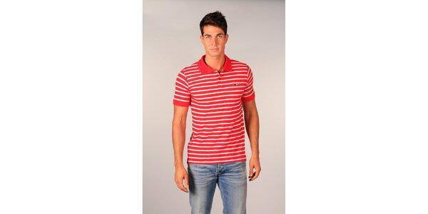 Pánské červeno-bíle pruhované polo tričko značky TH