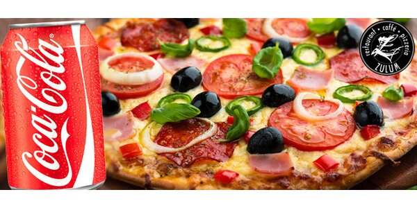 Italská pizza a Coca-Cola s sebou
