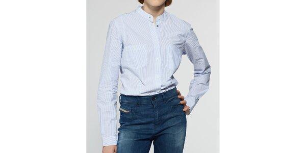 Dámská bílá košile Diesel se světle modrým proužkem
