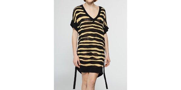 Dámské černo-zlaté proužkované šaty Diesel