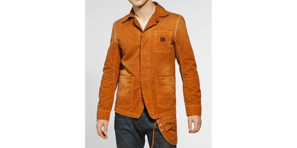 Pánská oranžovo-hnědá džínová bunda Diesel