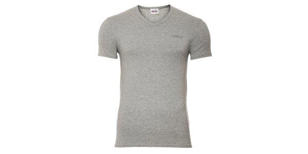 Pánské šedé bavlněné tričko Kenzo s výstřihem do véčka