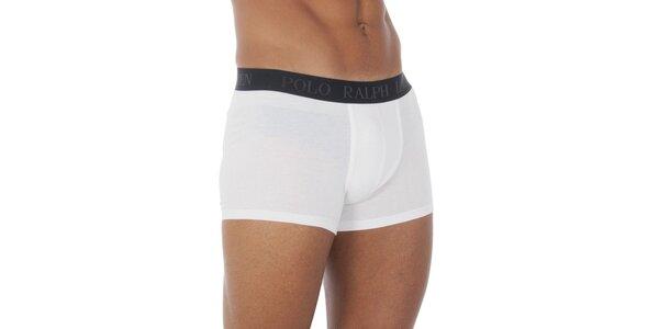 Pánské bílé boxerky Ralph Lauren s černým pasem
