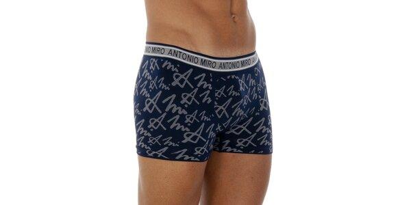 Pánské modré vzorované boxerky Antonio Miro