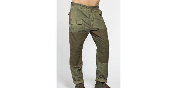 Pánské tmavě zelené bavlněné kalhoty Diesel