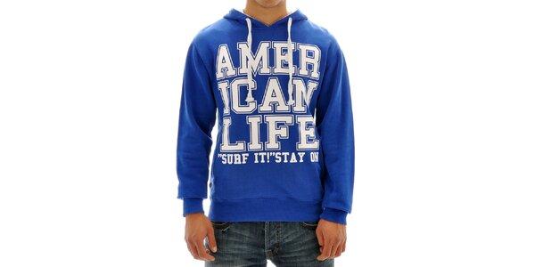 Pánská modrá mikina s nápisem American Life