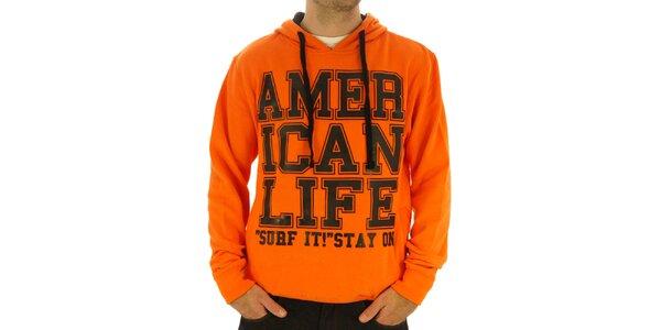 Pánská oranžová mikina s nápisem American Life