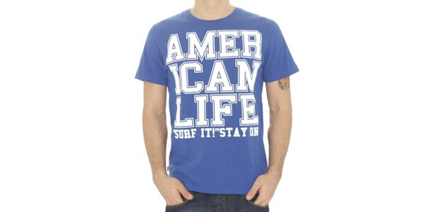 Pánské modré tričko s nápisem American Life