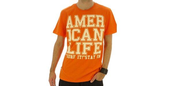 Pánské oranžové tričko s nápisem American Life