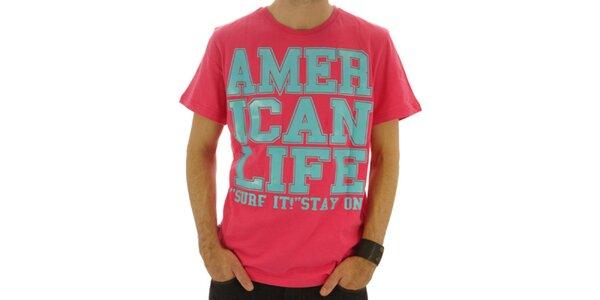 Pánské růžové tričko s nápisem American Life