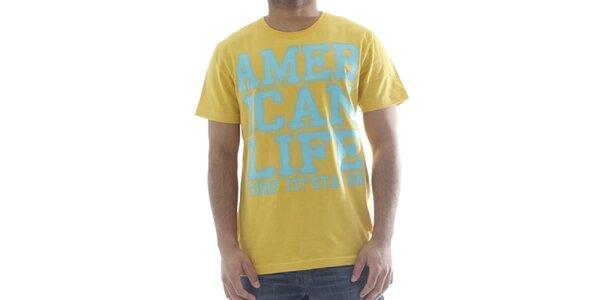 Pánské světle žluté tričko s nápisem American Life