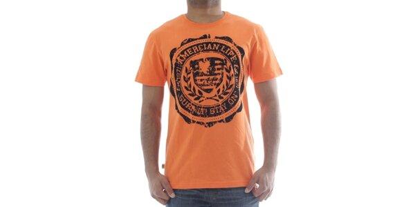 Pánské oranžové tričko s potiskem American Life