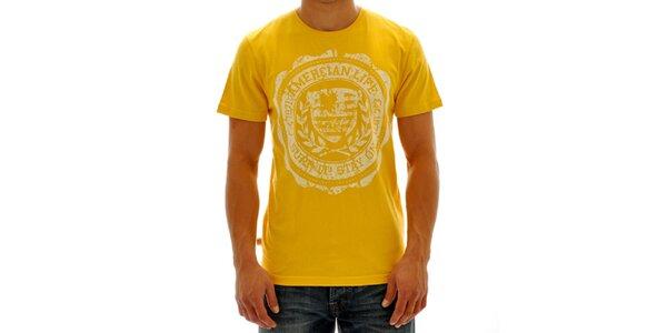 Pánské žluté tričko s potiskem American Life