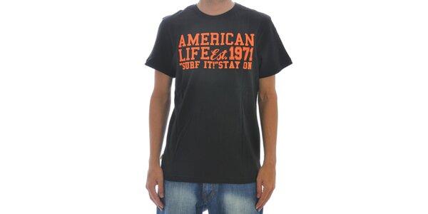 Pánské černé tričko American Life s nápisem na hrudi