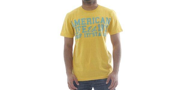 Pánské žluté tričko American Life s nápisem na hrudi