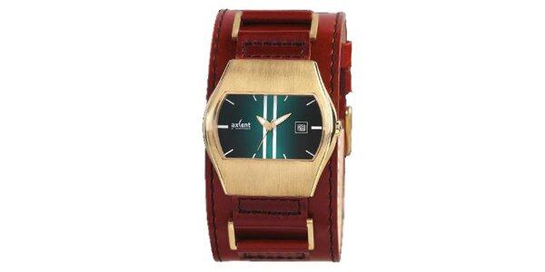 Pozlacené ocelové hodinky s hnědým koženým řemínkem Axcent