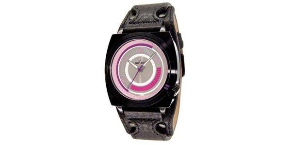 Černé ocelové hodinky s růžovým ciferníkem Axcent