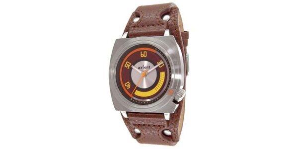 Ocelové hodinky s hnědým koženým páskem Axcent