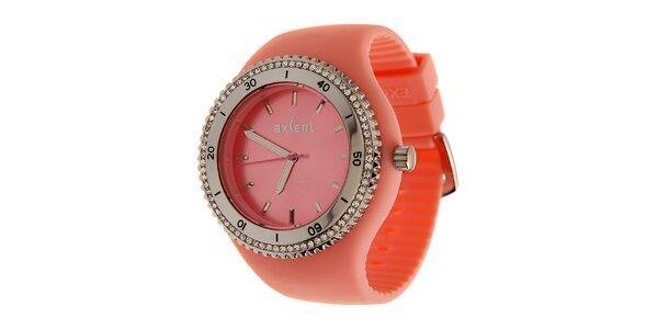 Dámské korálově růžové náramkové hodinky Axcent s pryžovým řemínkem a kamínky