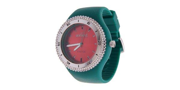 Dámské hodinky Axcent se zeleným pryžovým řemínkem a kamínky