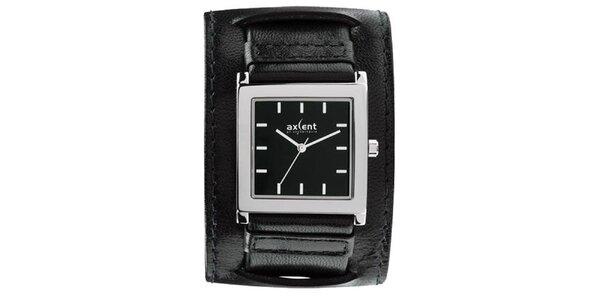 Černé ocelové hodinky s širokým řemínkem Axcent