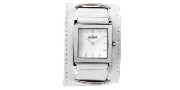 Bílé ocelové hodinky s širokým řemínkem Axcent