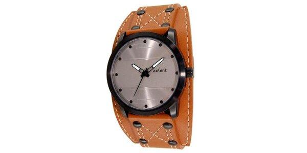 Kulaté ocelové analogové hodinky s oranžovým páskem Axcent