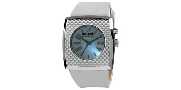 Stříbrné hranaté analogové hodinky Axcent s podsvícením