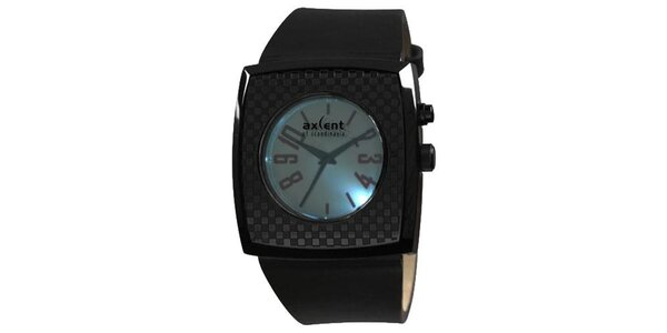 Černé hranaté analogové hodinky Axcent s podsvícením