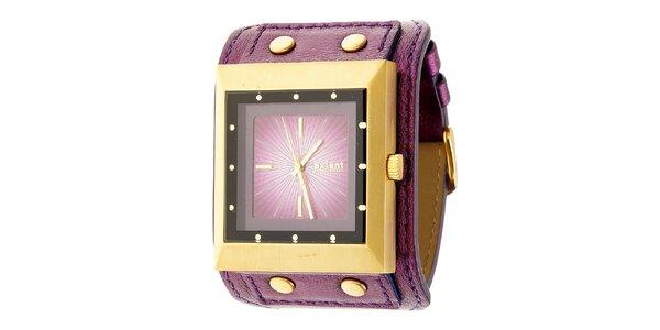 Dámské zlato-fialové náramkové hodinky Axcent s koženým řemínkem
