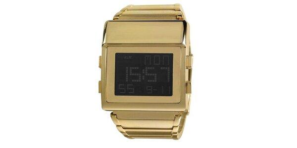 Hranaté digitální hodinky Axcent z pozlacené oceli