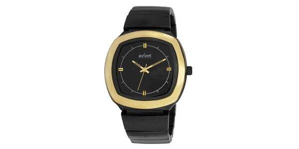Zlato-černé analogové hodinky Axcent