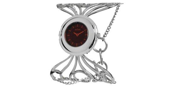 Dámské stříbrné hodinky s červeným ciferníkem Axcent