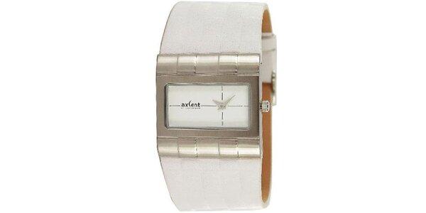 Pánské bílé hodinky s ocelovým analogovým ciferníkem Axcent