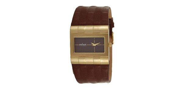 Pánské hodinky s ocelovým analogovým ciferníkem Axcent s hnědým řemínkem
